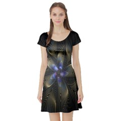 Fractal Blue Abstract Fractal Art Short Sleeve Skater Dress