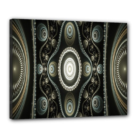 Fractal Beige Blue Abstract Canvas 20  X 16