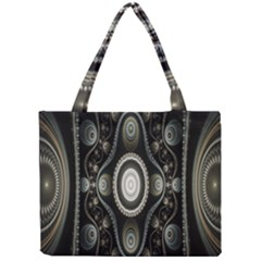 Fractal Beige Blue Abstract Mini Tote Bag by Nexatart