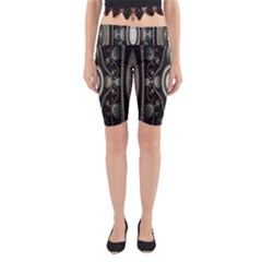 Fractal Beige Blue Abstract Yoga Cropped Leggings by Nexatart