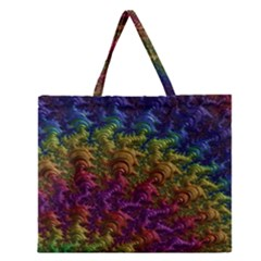 Fractal Art Design Colorful Zipper Large Tote Bag by Nexatart