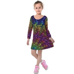 Fractal Art Design Colorful Kids  Long Sleeve Velvet Dress by Nexatart