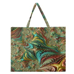 Fractal Artwork Pattern Digital Zipper Large Tote Bag by Nexatart