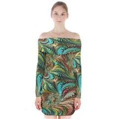 Fractal Artwork Pattern Digital Long Sleeve Off Shoulder Dress by Nexatart