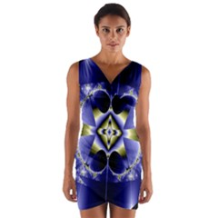 Fractal Fantasy Blue Beauty Wrap Front Bodycon Dress by Nexatart