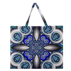 Fractal Cathedral Pattern Mosaic Zipper Large Tote Bag by Nexatart