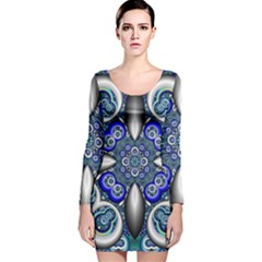 Fractal Cathedral Pattern Mosaic Long Sleeve Velvet Bodycon Dress