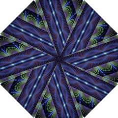 Fractal Blue Lines Colorful Hook Handle Umbrellas (small)