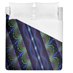 Fractal Blue Lines Colorful Duvet Cover (queen Size) by Nexatart