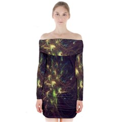 Fractal Flame Light Energy Long Sleeve Off Shoulder Dress by Nexatart