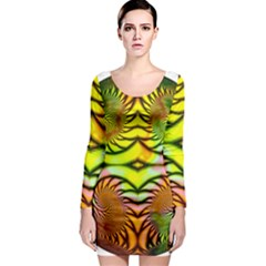 Fractals Ball About Abstract Long Sleeve Bodycon Dress