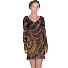 Fractal Spiral Endless Mathematics Long Sleeve Nightdress