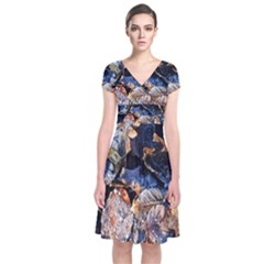 Frost Leaves Winter Park Morning Short Sleeve Front Wrap Dress