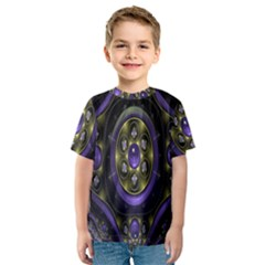 Fractal Sparkling Purple Abstract Kids  Sport Mesh Tee