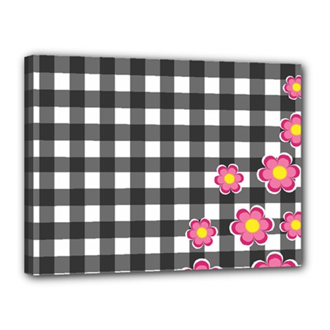 Floral Plaid Pattern Canvas 16  X 12  by Valentinaart