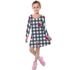 Ladybugs Plaid Pattern Kids  Long Sleeve Velvet Dress by Valentinaart