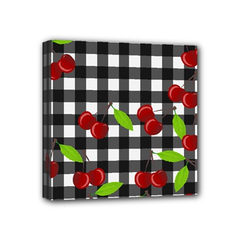 Cherries Plaid Pattern  Mini Canvas 4  X 4  by Valentinaart