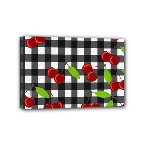 Cherries Plaid Pattern  Mini Canvas 6  X 4  by Valentinaart