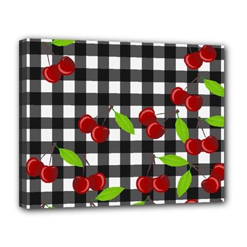 Cherries Plaid Pattern  Canvas 14  X 11  by Valentinaart