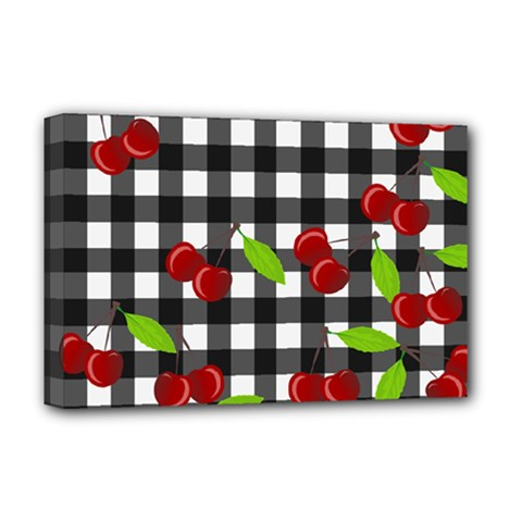 Cherries Plaid Pattern  Deluxe Canvas 18  X 12   by Valentinaart