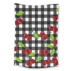 Cherries Plaid Pattern  Large Tapestry by Valentinaart