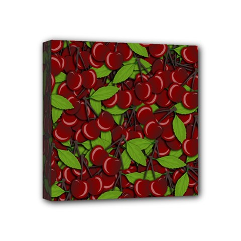 Cherry Pattern Mini Canvas 4  X 4  by Valentinaart