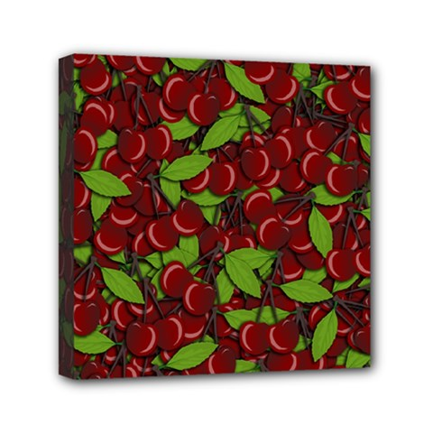 Cherry Pattern Mini Canvas 6  X 6  by Valentinaart