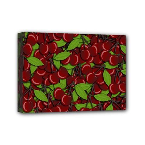Cherry Pattern Mini Canvas 7  X 5  by Valentinaart