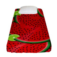 Watermelon Slices Fitted Sheet (single Size) by Valentinaart