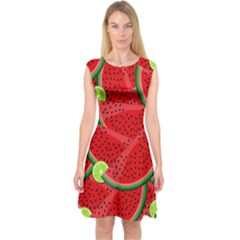 Watermelon slices Capsleeve Midi Dress by Valentinaart