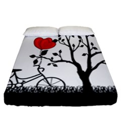 Love Hill Fitted Sheet (queen Size) by Valentinaart