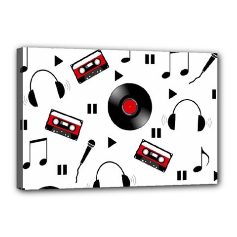 Music Pattern Canvas 18  X 12  by Valentinaart