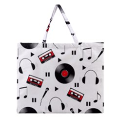 Music Pattern Zipper Large Tote Bag by Valentinaart
