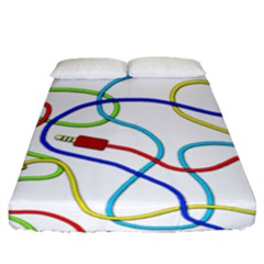 Colorful Audio Cables Fitted Sheet (queen Size) by Valentinaart