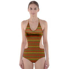 Fugly Christmas Xmas Pattern Cut-Out One Piece Swimsuit