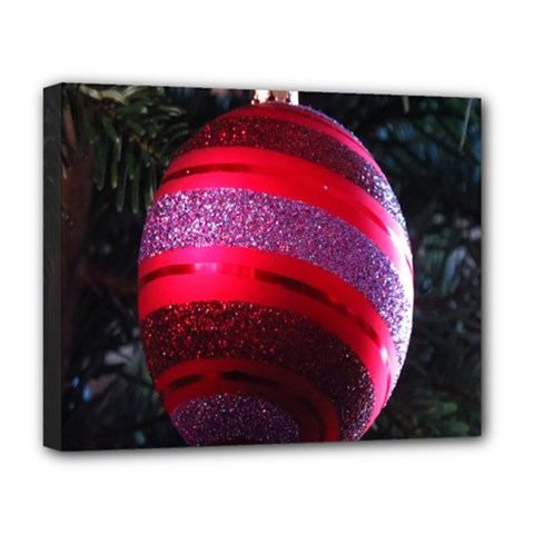Glass Ball Decorated Beautiful Red Deluxe Canvas 20  X 16