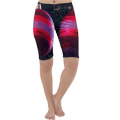 Glass Ball Decorated Beautiful Red Cropped Leggings