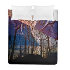 Full Moon Forest Night Darkness Duvet Cover Double Side (full/ Double Size) by Nexatart