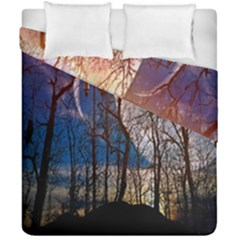Full Moon Forest Night Darkness Duvet Cover Double Side (california King Size) by Nexatart