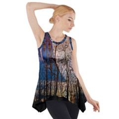 Full Moon Forest Night Darkness Side Drop Tank Tunic by Nexatart