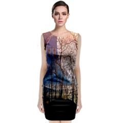 Full Moon Forest Night Darkness Classic Sleeveless Midi Dress