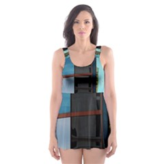 Glass Facade Colorful Architecture Skater Dress Swimsuit by Nexatart