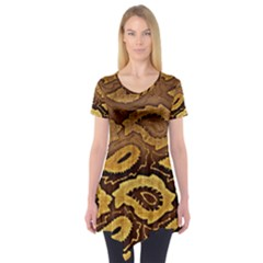 Golden Patterned Paper Short Sleeve Tunic