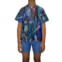 Graffiti Art Urban Design Paint Kids  Short Sleeve Swimwear