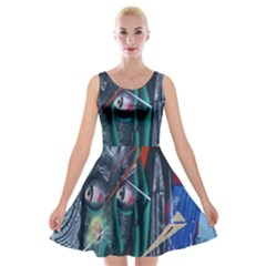 Graffiti Art Urban Design Paint Velvet Skater Dress by Nexatart