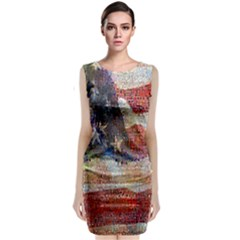 Grunge United State Of Art Flag Classic Sleeveless Midi Dress