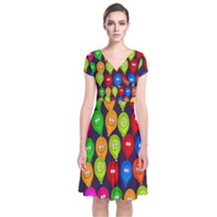 Happy Balloons Short Sleeve Front Wrap Dress by Nexatart