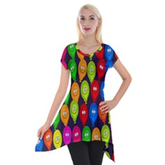 Happy Balloons Short Sleeve Side Drop Tunic by Nexatart