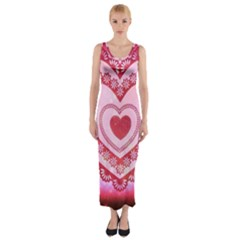 Heart Background Lace Fitted Maxi Dress by Nexatart