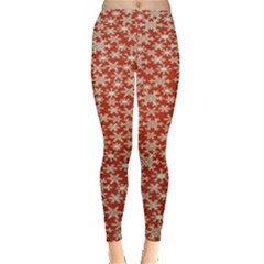 Holiday Snow Snowflakes Red Leggings  by Nexatart
